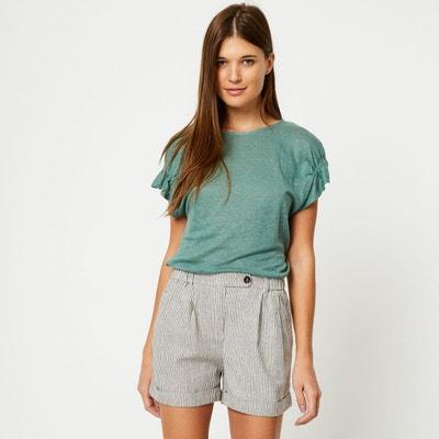 Tshirt en lin manches courtes fronces MONOPRIX a9dc7d548a8f
