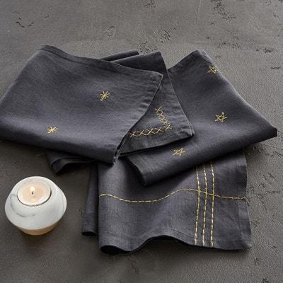 Tovaglioli in lino lavato ricamato, Vanani (confezione da 4) Tovaglioli in lino lavato ricamato, Vanani (confezione da 4) AM.PM.