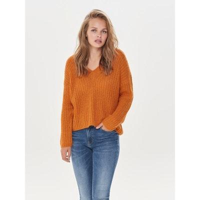 Pull laine orange en solde   La Redoute 3489eff892de