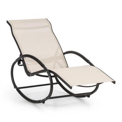 blumfeldt santorini fauteuil bascule chaise longue aluminium polyester beige blumfeldt santorini fauteuil bascule - Fauteuil Chaise Longue