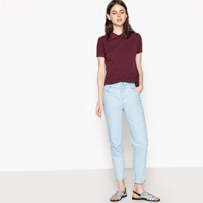 T-shirt met polokraag, korte mouwen en knopen op de rug La Redoute Collections