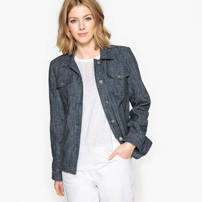 Veste en jean noir femme longue