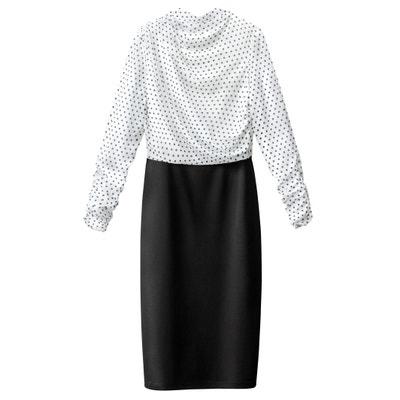 2-in-1-Kleid, getupft, oben effektvoll drapiert 2-in-1-Kleid, getupft, oben effektvoll drapiert La Redoute Collections
