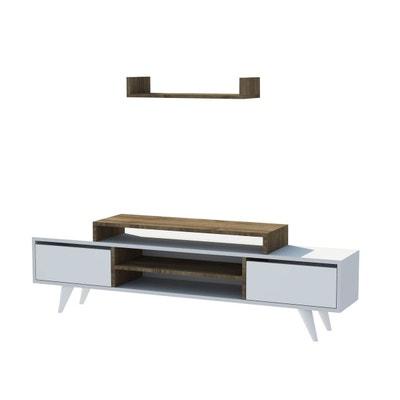meuble tv avec tagre melis 160 x 48 cm blanc et noix meuble tv