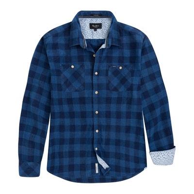 Camicia ALBANY dritta a quadri, puro cotone Camicia ALBANY dritta a quadri, puro cotone PEPE JEANS