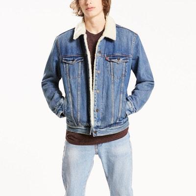 Longue veste en jean noir homme