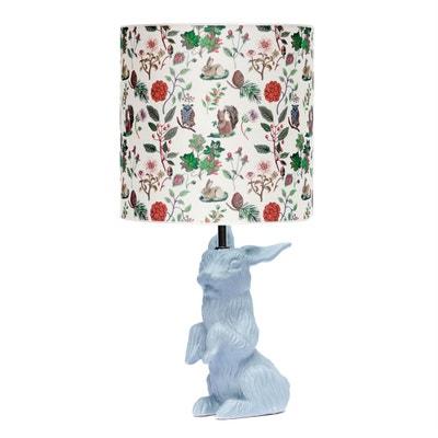 JEANNOT LAPIN - Lampe à poser Céramique Gris et abat-jour Tissu Automne H60cm DOMESTIC