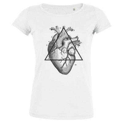 Tshirt Imprimé Bio Blanc Col rond Femme Mon coeur ARTECITA 393a2039bd69