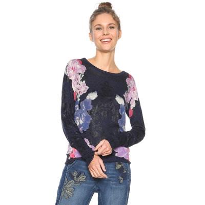 Sweterek z lekkiej włóczki z okrągłym dekoltem i kwiatkami Sweterek z lekkiej włóczki z okrągłym dekoltem i kwiatkami DESIGUAL