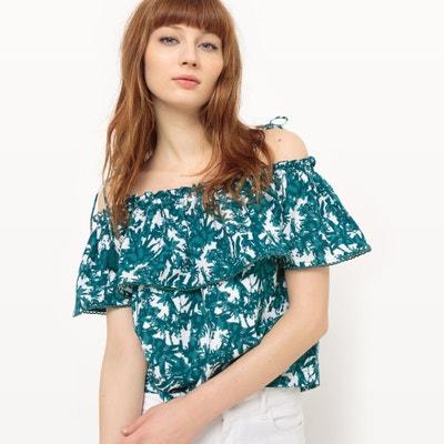 Printed Frill Bardot T-Shirt SUNCOO