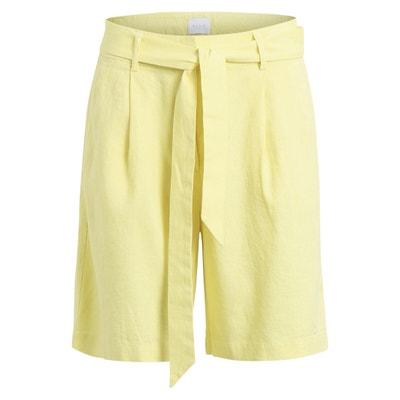 Tie Waist Linen Blend Bermuda Shorts VILA