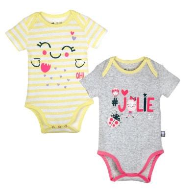 3125f0b7d7681 Lot de 2 bodies bébé fille gris   rayé Jolie PETIT BEGUIN