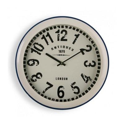 Horloge Murale Ronde Vintage en Métal Beige et Bleu Horloge Murale Ronde  Vintage en Métal Beige. VERSA 727696a36b10