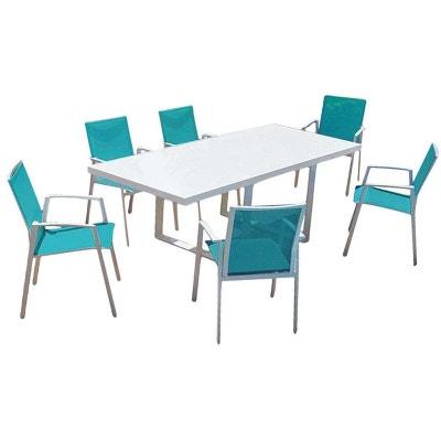 salon de jardin moderne bleu 6 personnes cyclades proloisirs - Table Et Chaise Jardin