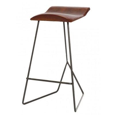 tabouret de bar cuir et mtal hauteur 60cm tabouret de bar cuir et mtal - Tabouret De Bar En Cuir