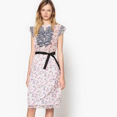 Vestido de flores con pequeño volante a rayas delante Vestido de flores con pequeño volante a rayas delante MADEMOISELLE R