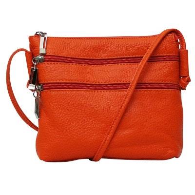 Petit sac bandouliere cuir orange CHAPEAU-TENDANCE