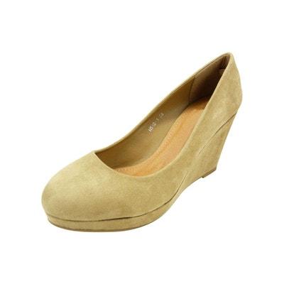 Escarpin, chaussure femme compensée talon haut et plateforme velours  CHAUSSMARO aa8cf9627bb6