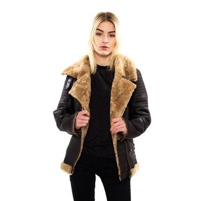 Peau lainée style perfecto marron foncé Peau lainée style perfecto marron  foncé ... 0c7c4b352310