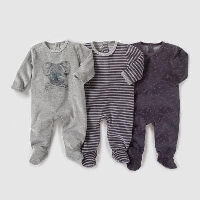 Lot de 3 pyjamas en velours 0 mois - 3 ans Lot de 3 pyjamas en velours 0 mois - 3 ans La Redoute Collections
