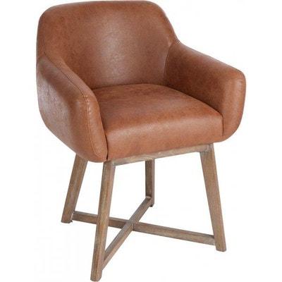 chaise croix cuir marron jolipa - Chaise En Cuir