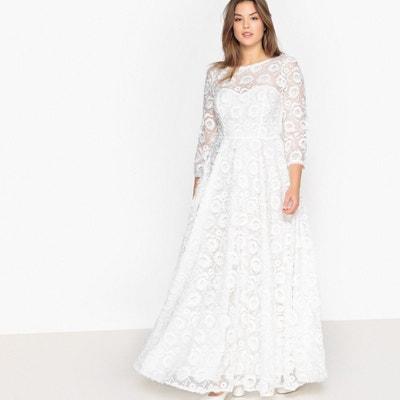Robe de mariée, broderie fleurs , manches 3/4 CASTALUNA