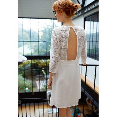 Платье из двух материалов, с открытой спиной Платье из двух материалов, с открытой спиной MADEMOISELLE R