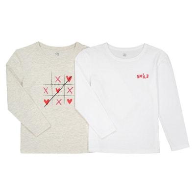 Lote de 2 T-shirts de mangas compridas, 3-12 anos Lote de 2 T-shirts de mangas compridas, 3-12 anos La Redoute Collections