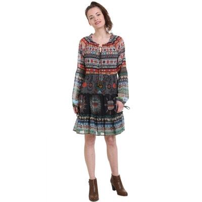 Kurzes Kleid aus bedrucktem Voile, Ethno-Muster Kurzes Kleid aus bedrucktem Voile, Ethno-Muster DESIGUAL