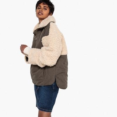 Manteau à enfiler par la tête bi-matière Manteau à enfiler par la tête bi-matière La Redoute Collections