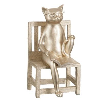 Statuette déco Chat Livre Or 35 cm Statuette déco Chat Livre Or 35 cm JOLIPA