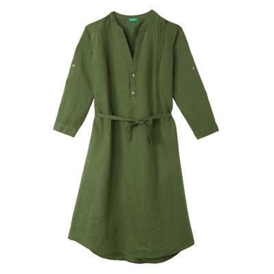 Robe tunique, col mao, manches 3/4, longueur midi Robe tunique, col mao, manches 3/4, longueur midi BENETTON