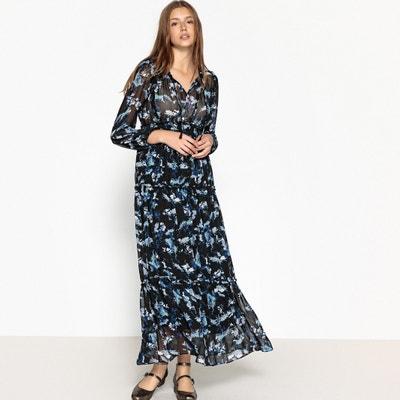Flared Floral Print Maxi Dress SUNCOO