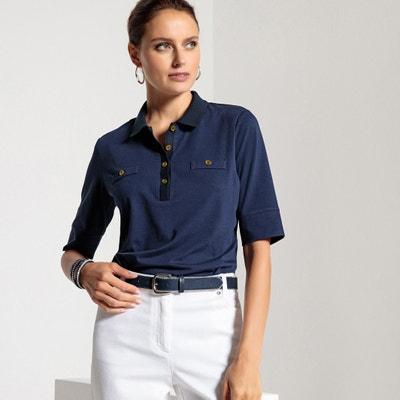 T-shirt collo polo, cotone & modal T-shirt collo polo, cotone & modal ANNE WEYBURN
