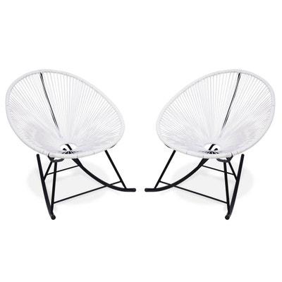 Ensemble de 2 fauteuils à bascule Acapulco chaise oeuf design rétro rocking Blanc ALICE S GARDEN