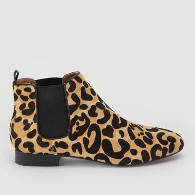 Boots en cuir imprimé léopard Boots en cuir imprimé léopard MONOPRIX 06892bc36838