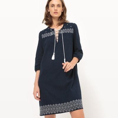 Gładka sukienka do kolan, długi rękaw La Redoute Collections
