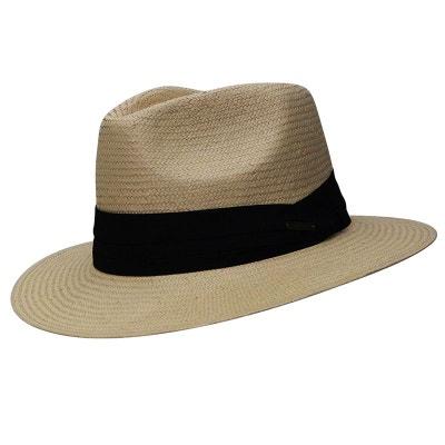 Chapeau naturel style panama ruban noir CHAPEAU-TENDANCE