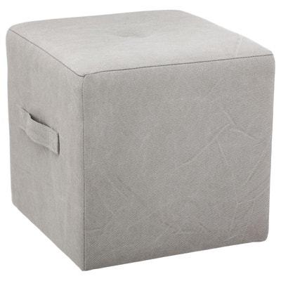 pouf carre gris la redoute. Black Bedroom Furniture Sets. Home Design Ideas