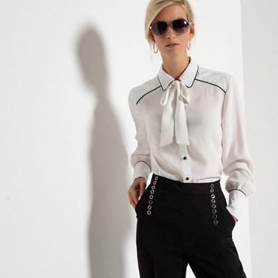 Viscose Straight Cut Shirt with Pussy Bow Collar Viscose Straight Cut Shirt with Pussy Bow Collar ANNE WEYBURN