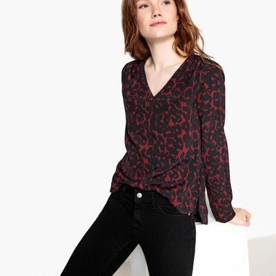 Langärmelige Bluse mit V-Ausschnitt und Leopardenmuster Langärmelige Bluse mit V-Ausschnitt und Leopardenmuster La Redoute Collections
