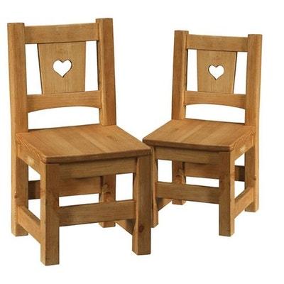2 x mini chaise rustique pin massif avec coeur blanche terroir 2 x mini chaise rustique - Chaise Rustique