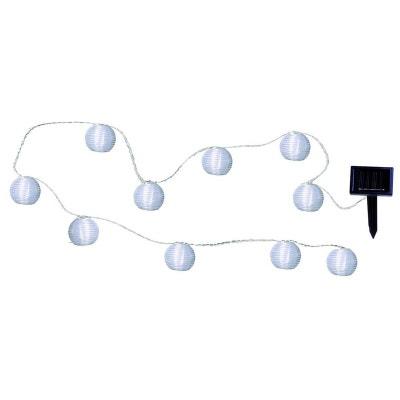 PARTY BALLS - Guirlande Solaire LED d'extérieur 10 Lampions Blanc L4,7m BEST SEASON