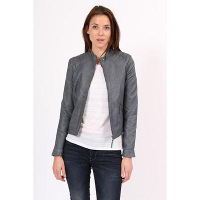 Veste cuir gris en solde   La Redoute 0dfa7e87e4f9