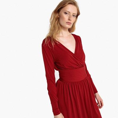 Gathered Wrapover Midi Dress Gathered Wrapover Midi Dress La Redoute Collections