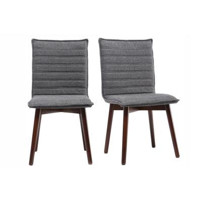 Chaise design tissu gris anthracite pieds bois foncé (lot de 2) IZAL MILIBOO