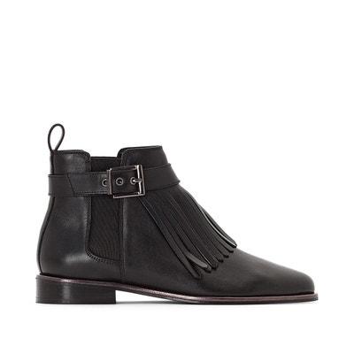 Boots cuir détail franges Boots cuir détail franges La Redoute Collections