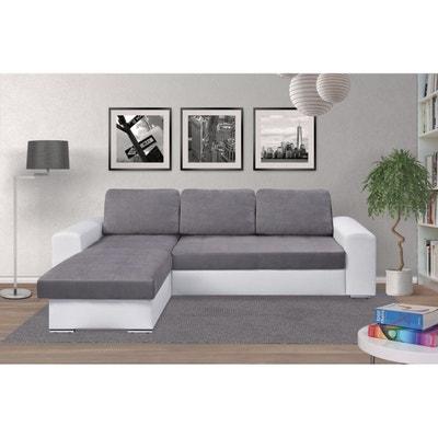 Soho â e Canapé convertible d'angle réversible avec coffre gris / gris â e blanc RELAXIMA