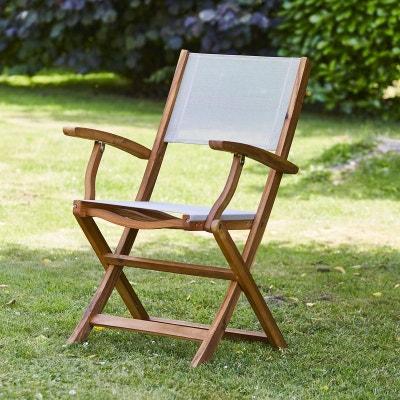 fauteuil pliant en bois dacacia fsc et textilne bois dessus bois dessous - Mobilier Jardin Bois