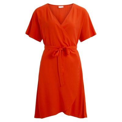 Short-Sleeved Wrapover Dress Short-Sleeved Wrapover Dress VILA